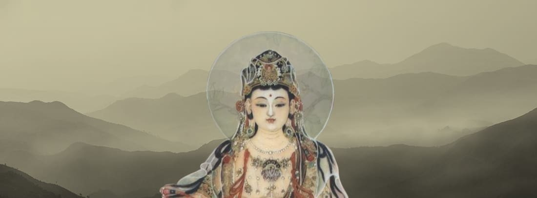 Kwan Yin in front of cream colored landscape