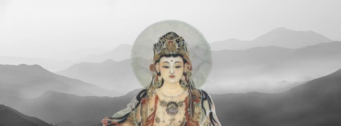 Kwan Yin in front of white colored landscape